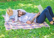 Modern online business. Family spend leisure outdoors work laptop. How to balance freelance and family life. Stories of stock images