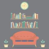Modern Ontwerp Binnenlands Sofa And Bookshelves stock illustratie