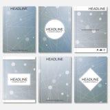 Modern ontwerp voor brochure, boekje, vlieger, dekking, jaarverslag Abstracte structuurmolecule en mededeling Stock Illustratie