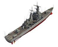 Modern Oorlogsschip over Witte Achtergrond Stock Afbeeldingen