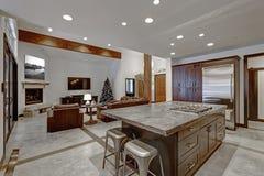 Modern open floor kitchen design in grey tones Stock Photo