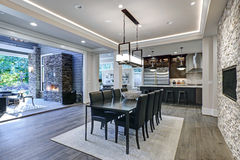 Modern open floor plan dining room design Royalty Free Stock Image