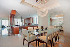 Modern open kitchen and dining room Royalty Free Stock Photos