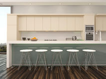 Modern open plan apartment kitchen interior Royalty Free Stock Images