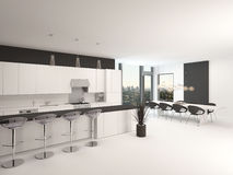 Modern open-plan black and white kitchen Stock Photos