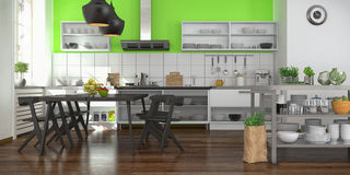 Modern open plan kitchen Royalty Free Stock Image