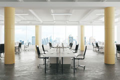 Modern open space loft office with concrete floor, big windows a royalty free illustration