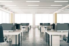 Modern open space loft office with furniture, concrete floor, bi vector illustration