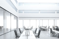 Modern open space office with work places and big windows stock illustration