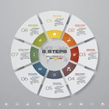 Abstract 8 steps modern pie chart infographics elements.Vector illustration. Modern 8 options presentation business infographics template. EPS 10 stock illustration