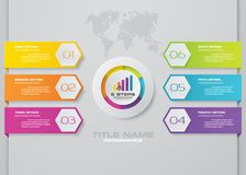 Modern 6 options presentation business infographics template stock photo