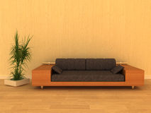 Modern orange 3d rendering sofa. Modern orange sofa with a vase Stock Photos