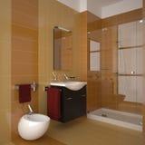 Modern orange bathroom. Modern bathroom with orange tiles Royalty Free Stock Photography