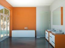 Modern orange bathroom interior 3d rendering mock up. Modern bathroom interior 3d rendering mock up with bathtub Stock Photography