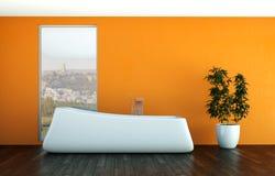 Modern orange bathroom interior 3d rendering mock up. Modern bathroom interior 3d rendering mock up with bathtub Royalty Free Stock Photos