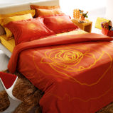 Modern orange bedroom stock photo