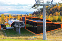 Modern orange cableway at Slovakia royalty free stock images