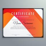 Modern orange certificate of achievement template design. Vector Stock Image