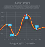 Modern orange 3d business diagram graph. Infographic elements. Vector illustration Royalty Free Stock Photos