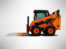 Modern orange forklift loader with scuffs on the case 3d render stock illustration