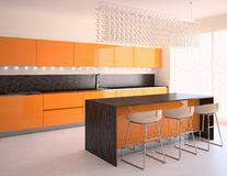 Modern orange kitchen. Interior of modern orange kitchen. 3d  render Stock Image