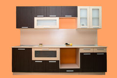 Modern orange kitchen Royalty Free Stock Image