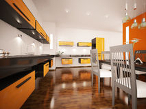 Modern orange kitchen interior 3d render Stock Photos