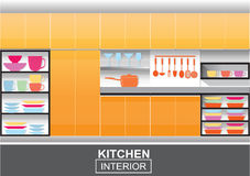Modern orange  kitchen interior vector Royalty Free Stock Image