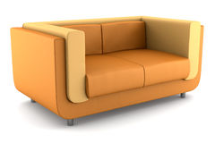 Modern orange leather couch isolated on white Stock Images