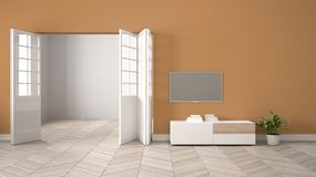 Modern orange living room with white furniture and tv, blank wall background with open door, herrigbone parquet, template. Background with copy space, interior vector illustration