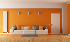 Modern orange living room stock illustration. Illustration ...
