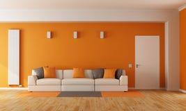 Modern orange living room Royalty Free Stock Photos