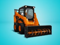 Modern orange loader snow blower with scuffs isolated 3d render on blue background with shadow royalty free illustration