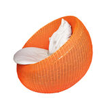 Modern orange rattan chair Royalty Free Stock Photography