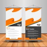 Modern Orange Roll Up Banner. Advertising vector template design vector illustration