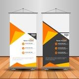 Modern Orange Roll Up Banner. Advertising vector template design royalty free illustration