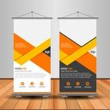 Modern Orange Roll Up Banner. Advertising vector template design stock illustration
