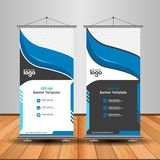 Modern Orange Roll Up Banner. Advertising vector template design royalty free illustration