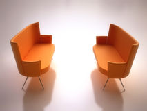 Modern Orange Sofas Stock Photos