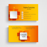 Modern orange square business card template. Vector eps 10 Stock Photos
