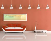 Modern orange and white living room Stock Images