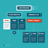 Modern organization chart template in flat style on cyan background vector illustration