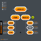 Modern organization chart template in flat style on gray background.  Royalty Free Stock Image