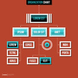 Modern organization chart template in flat style on red background Stock Image