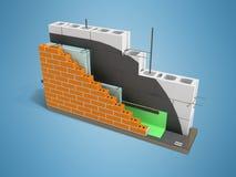 Modern orientering av konstruktionen av varma väggar med stenen och b stock illustrationer