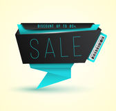 Modern origami banner SALE with barcode. Royalty Free Stock Photos