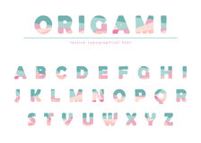 Modern origami festive font in pastel colors. Royalty Free Stock Image