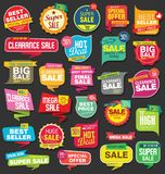 Modern origami sale stickers and tags colorful collection Royalty Free Stock Photo
