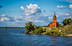 Modern Orthodox chapel on the Dneiper River in Ukraine Royalty Free Stock Image