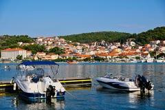 Outboard Motor Boats, Split Harbour, Croatia. Modern outboard recreational motor sport boats docked or moored in Split Harbour, Croatia royalty free stock images